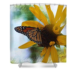 Monarch With Sunflower Shower Curtain by Yumi Johnson