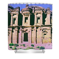 Monastery At Petra Shower Curtain by Dominic Piperata