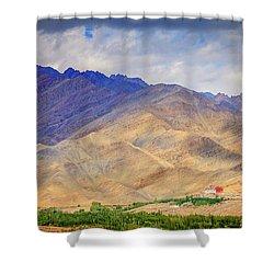 Shower Curtain featuring the photograph Monastery In The Mountains by Alexey Stiop