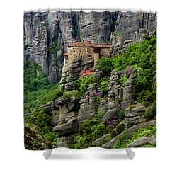 Monastery Of Saint Nicholas Of Anapafsas, Meteora, Greece Shower Curtain
