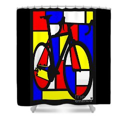 Mondrianesque Road Bike Shower Curtain