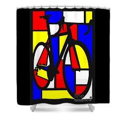 Mondrianesque Road Bike Shower Curtain