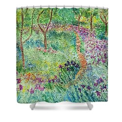 Monet Inspired Iris Garden Shower Curtain