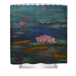 Monet Inspired Water Lilies With Gold Fish In A Pond Shower Curtain