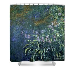 Monet: Irises By The Pond Shower Curtain by Granger