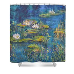 Monet Style Water Lily Marsh Wetland Landscape Painting Shower Curtain