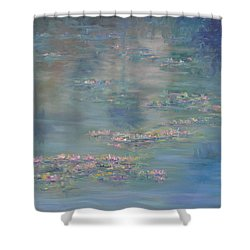 Monet Style Water Lily Peaceful Tropical Garden Painting Print Shower Curtain