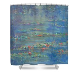 Monet Style Water Lily Pond Landscape Painting Shower Curtain