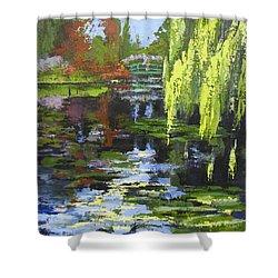 Monets Garden Painting Palette Knife Shower Curtain