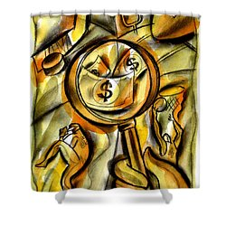 Shower Curtain featuring the painting Money And Professional Sports   by Leon Zernitsky