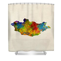 Shower Curtain featuring the digital art Mongolia Watercolor Map by Michael Tompsett