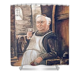 Monk With Wine Shower Curtain