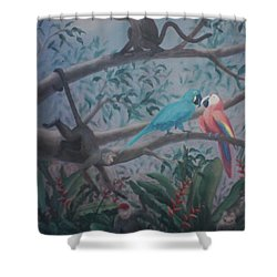 Monkey Artist Painting The Moon  Shower Curtain