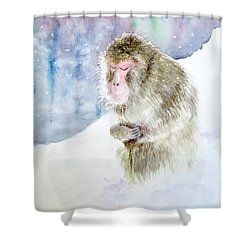 Shower Curtain featuring the painting Monkey In Meditation by Yoshiko Mishina