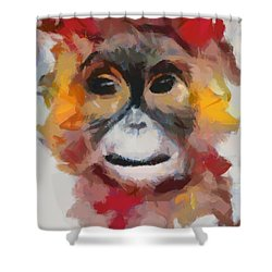 Monkey Splat Shower Curtain by Catherine Lott