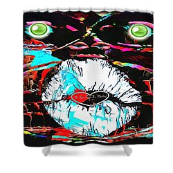 Monkey Works Shower Curtain by Catherine Lott