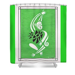 Monkeying Around -- Whimsical Stylized Monkey Shower Curtain