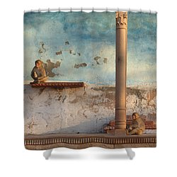 Shower Curtain featuring the photograph Monkeys At Sunset by Jean luc Comperat