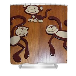 Monkeys Shower Curtain by Val Oconnor