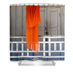 Monk's Robe Hanging Out To Dry, Luang Prabang, Laos Shower Curtain