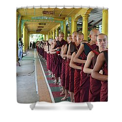 Shower Curtain featuring the digital art Monks To Lunch by Eva Kaufman