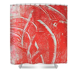 Shower Curtain featuring the drawing Mono Print 001 - Rotation by Mudiama Kammoh