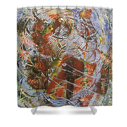 Shower Curtain featuring the drawing Mono Print 002 - Elephant In Misty Jungle by Mudiama Kammoh