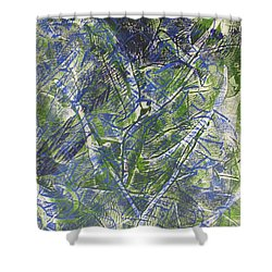 Shower Curtain featuring the drawing Mono Print 004 - Branches by Mudiama Kammoh