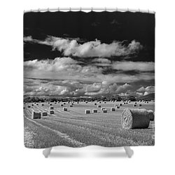 Mono Straw Bales Shower Curtain
