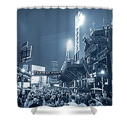 Monochrome Blue Nights Boston Ma Lansdowne St Fenway Park Game Night Shower Curtain
