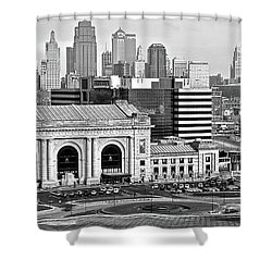 Shower Curtain featuring the photograph Monochrome Kc Pano by Frozen in Time Fine Art Photography