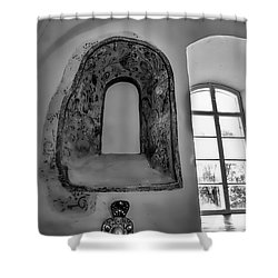 Shower Curtain featuring the photograph monochrome Old window in Teda church. by Leif Sohlman