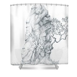 Shower Curtain featuring the drawing Monolith 2 by Curtiss Shaffer