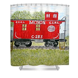 Shower Curtain featuring the painting Monon Wood Caboose Train C 283 1950s by Kathy Marrs Chandler