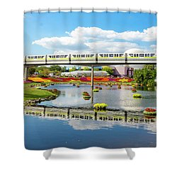 Monorail Cruise Over The Flower Garden. Shower Curtain