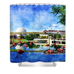 Monorail Red - Coming 'round The Bend Shower Curtain
