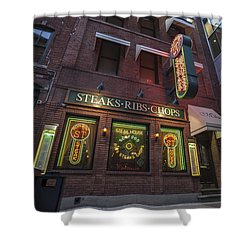 Shower Curtain featuring the photograph Monroe St Steakhouse by Nicholas Grunas