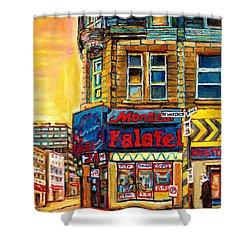 Monsieur Falafel Shower Curtain by Carole Spandau