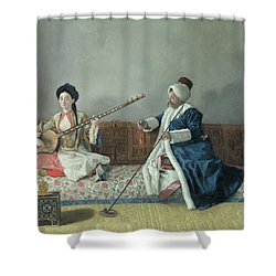 Monsieur Levett And Mademoiselle Helene Glavany In Turkish Costumes Shower Curtain