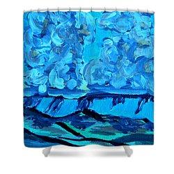 Shower Curtain featuring the painting Monsoon Desert Storms IIi by Carolina Liechtenstein