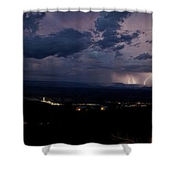 Monsoon Lightning Over Sedona From Jerome Az Shower Curtain