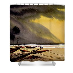 Monsoon Seashore And Fishing Boats Shower Curtain
