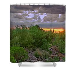 Shower Curtain featuring the photograph Monsoon Sunset H56 by Mark Myhaver