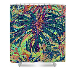 Shower Curtain featuring the digital art Monstera Leaf Patterns - Square by Kerri Ligatich