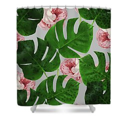 Monstera Rose Pattern Shower Curtain
