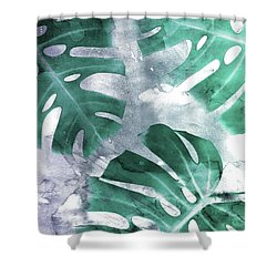 Monstera Theme 1 Shower Curtain by Emanuela Carratoni