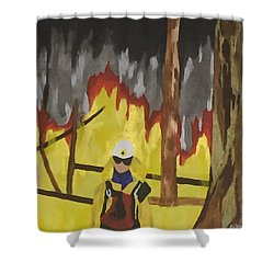 Shower Curtain featuring the painting Montana 1994 by Erika Chamberlin