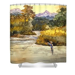 Montana Fly Fishing Shower Curtain