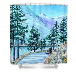 Montana Lake Como With Bench Shower Curtain