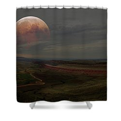 Montana Landscape On Blood Moon Shower Curtain
